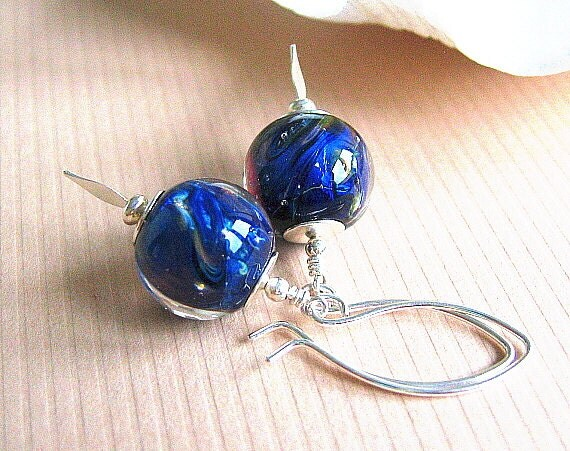 Blue Lampwork Earrings, Artisan Glass Bead Earrings, Sterling Silver - SAPPHIRE SKY
