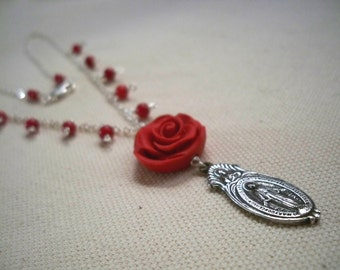 A Rose for Faith Red Rose necklace with Red Coral