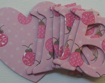 """PiNK LADYBUG -  Glittery Chipboard Letters & Heart and Bracket Note Die Cuts  - 1.5"""""""