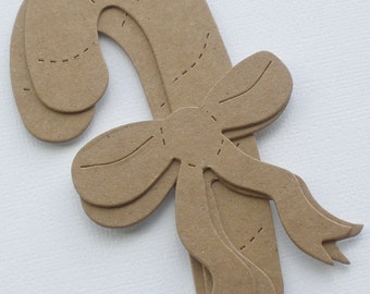 "CANDY CANES and RiBBONS  - Bare Christmas Chipboard Die Cuts - 1 7/8"" X 4 1/4"""
