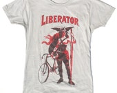 Women's Bicycle T-Shirt, The Liberator, in Light Grey