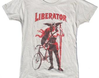 Women's Bike T-Shirt, The Liberator On Her Fixed Gear , in Light Grey