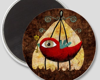 Magnet -  Red Victorian Bird