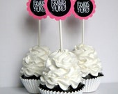 Fabulous at 40 Birthday Cupcake Toppers, Hot Pink and Black, Set of 12