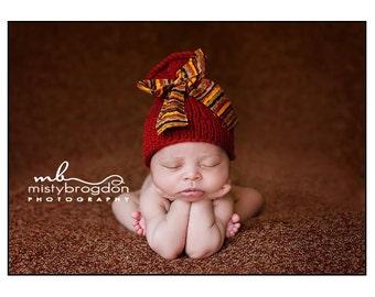 Baby Hat, Newborn Hat, Baby Photo Prop, Newborn Photo Prop, NewBorn Baby Hat, Brown Hat with Orange Bow