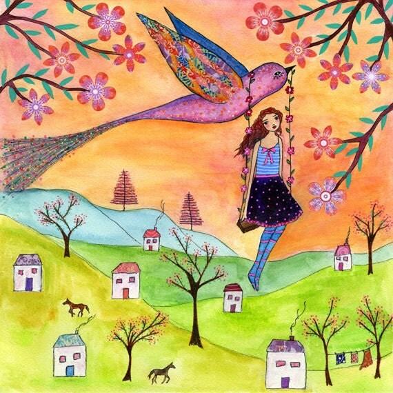 Girls Nursery Art - Nursery Decor - Children Wall Art - Children Decor - Girl Illustration - Girl Art -Bird and Girl Painting