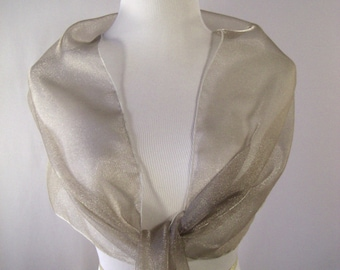 Evening Wrap - Taupe - Shawl Scarf - Stole - One Shoulder Drape - Taupe Organza