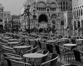 Cafe in St Mark's Square, Venice  - 8 x 12 Fine Art Black and White Photograph, Italy, Europe, Italian, Travel Wall Art