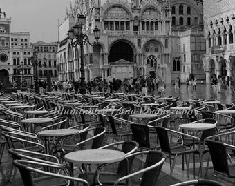 Cafe in St Mark's Square, Venice  - 20 x 30 Fine Art Black and White Photograph, Italy, Europe, Italian, Travel Wall Art, FREE Shipping