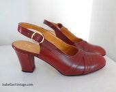 Vintage Italian Etienne Aigner Leather Slingbacks 7.5