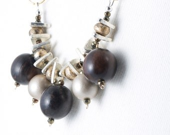 Wood greek ceramic Summer statement necklace pyrite gold silver mixed metal women