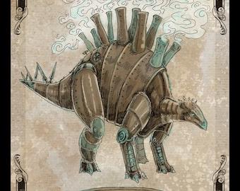 Steamosaurus 11x14 steampunk dinosaur art poster