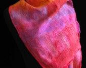 Nuno Scarf  Silk Merino Wool Scarf Felted Scarf OOAK -  Scarlet