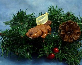 Xmas Beaver Ornament , Handmade Christmas Decoration