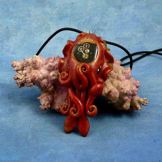 Gilded Steampunk Cuttlefish Necklace, Polymer Clay Neo-Victorian Cephalopod Pendant