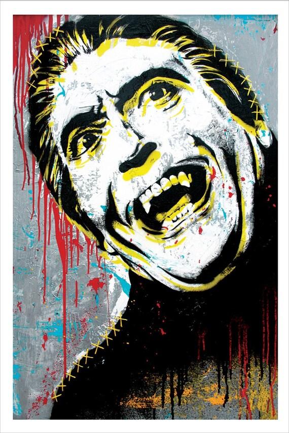 Christopher Lee as Dracula - 12 x 18 High Quality Art print