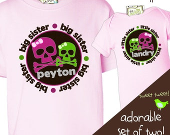 Big sister little sister skull cross bones girlie Tshirt set