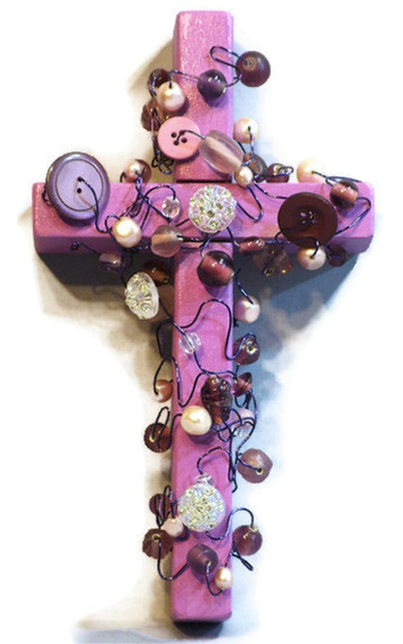wall cross, Purple Button and Glass Bead Cross with Wire, bead and button cross