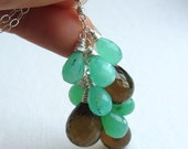 Chrysoprase and Whiskey Quartz Necklace Cluster - Mint Green and Brown Quartz - Statement Necklace