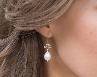 Natural Pearl earrings, Freshwater pearl drop earrings, bridal jewelry, sterling silver, LOTUS EARRINGS, Real pearl earrings