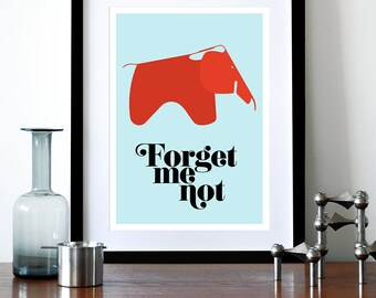 Poster, eames poster print,  Mid century modern, retro, kitchen art, office art, nursery art - Forget Me Not A3