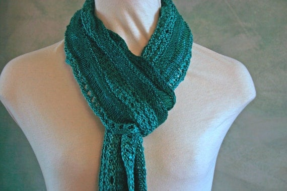 PRICE REDUCTION Silk & Wool Shibori Knit Felted Scarf in Spruce Green
