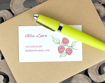 Calling Cards / Custom Calling Cards / Business Cards / Contact Cards / Personalized Calling Cards - Raspberries