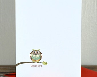 Thank You Cards . Personalized Stationery . Personalized Note Cards . Owls - Happy Owl