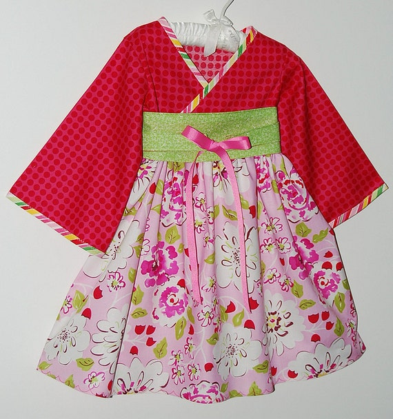 Girly, Girl Pink Dress in Little Girl Sizes 12 months to 7, toddler, dresses, Kimono Style