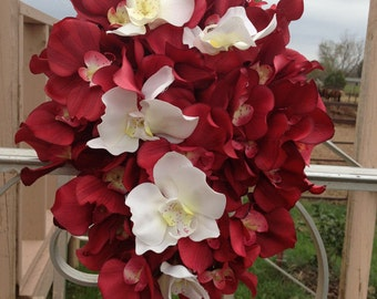Red and White Cascading Orchid Bridal Bouquet