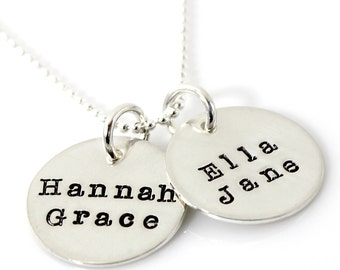 Two Disc Mother's Necklace - hand stamped and personalized sterling silver necklace with Typewriter font