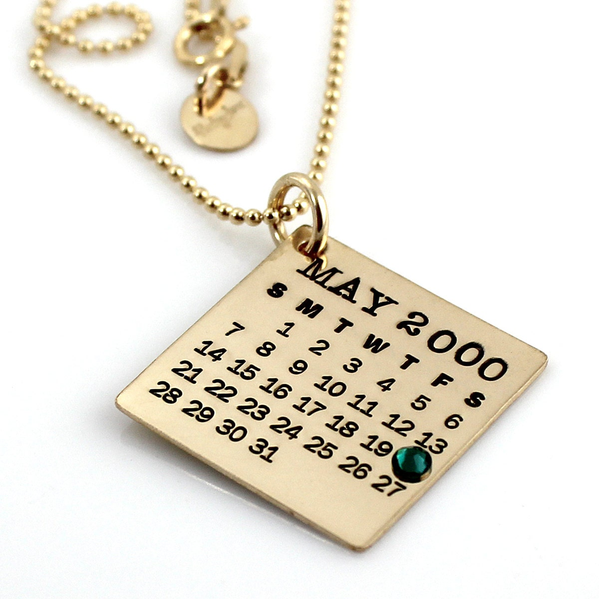 personalized calendar necklace gold filled your
