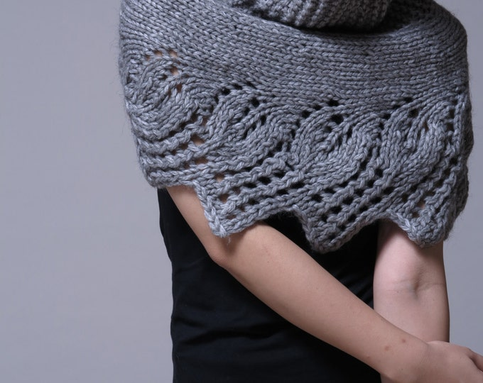 Hand knit capelet, poncho and neckwarmer in grey - ready to ship