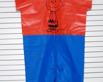 SALE Vintage Peanuts Charlie Brown Halloween 1970s Vinyl Costume Bland Charnas Brooklyn NY Childs Size 3-5