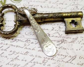 Handcrafted Key Ring Antique Silverplate Spoon Handle Holmes & Edwards Jac Rose Pattern 1890s Upcycled Silverware