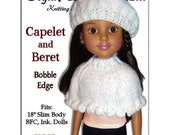 "Knitting Pattern. Fits BFC, Ink  Doll. 18"", Capelet and Beret, PDF Instant Download 744"