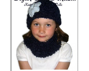 PDF Knitting Pattern, Beanie Hat and Cowl Neck Warmer, Girls 4-10 Instant Download
