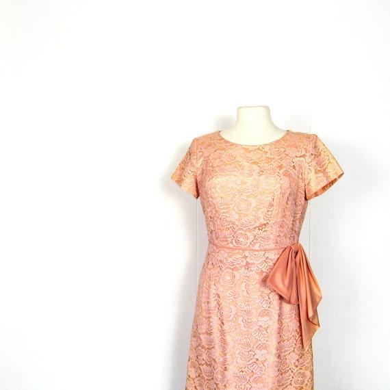 1950s Party Dress / 50s Pink Dress / Chantilly Lace Dress / Blush Pink / M