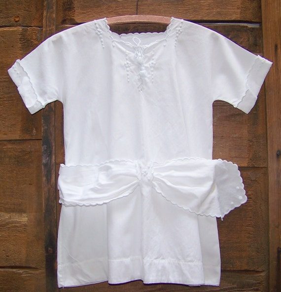 VINTAGE White Cotton Toddler Or Child's Embroidered Dress
