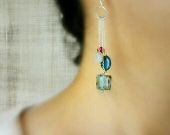 Millefiori Sterling Silver Earrings - Ocean Blue / Apatite, Aquamarine & Coral
