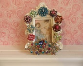 RESERVED RAINBOW BROOCH Ornate Vintaqe Jeweled Picture Frame
