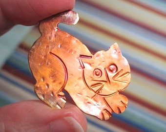 Kitty Cat Brooch Rustic Oxidized Copper Kitten Pin Holiday Jewelry