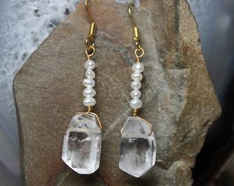 Freshwater Pearl Quartz Crystal Dangle 18K Gold Earrings