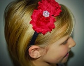 Girls Dark Red CHRISTMAS HEADBAND Crimson Chiffon Rosette Headband size 5 6 7 8 9 10 12