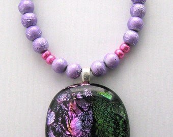 Violet-Orange-Green Fused Glass Beaded Dichroic Necklace