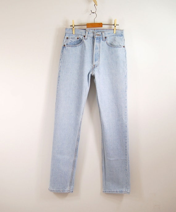 1970s Levi's 501 light wash button fly high waist straight leg jeans womens size 29