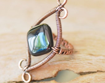Copper Wire Wrapped Ring with Black Agate