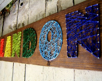 6 letter modern string art wooden name tablet made to order