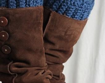 Boot cuff, boot topper, wool, sapphire blue, leg warmer