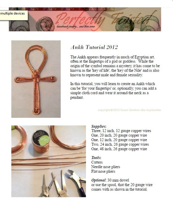 TUTORIAL Wire Wrapped Jewelry Copper Ankh Beginner to